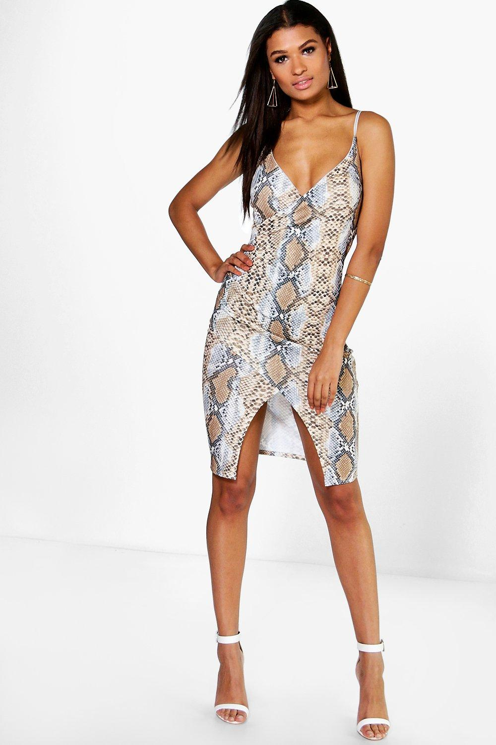 Beci Snake Print Wrap Bodycon Dress