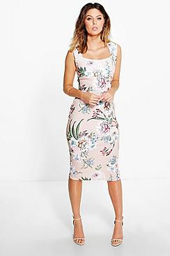 Molly Floral Print Sweatheart Midi Bodycon Dress