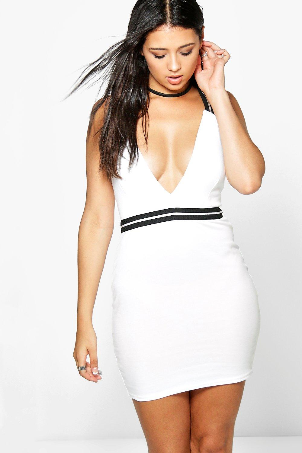 Bonnie Contrast Trim Plunge Bodycon Dress