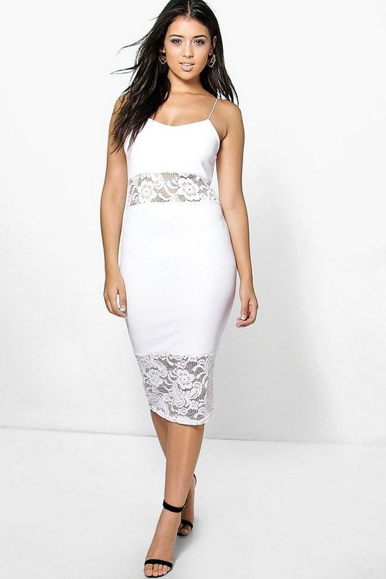Sophie Lace Insert Textured Midi Bodycon Dress