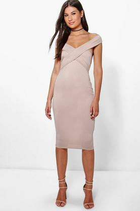 Mia Off The Shoulder Midi Bodycon Dress
