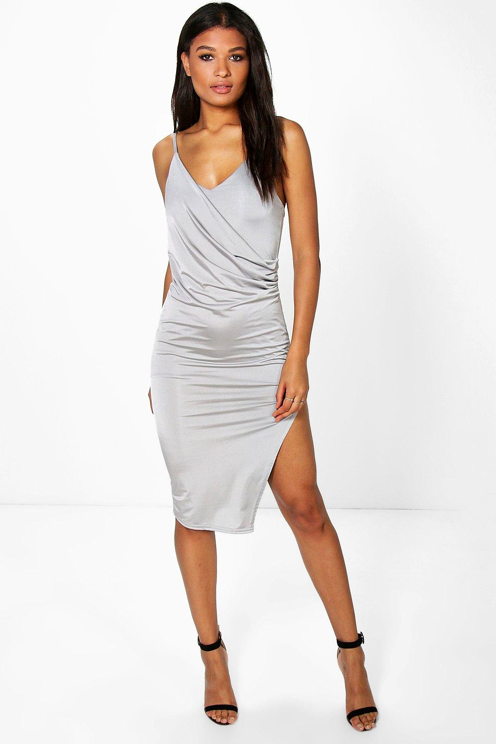Alexis Drape Front Detail Slinky Midi Dress