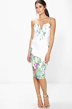 Lola Floral Print Strappy Midi Dress