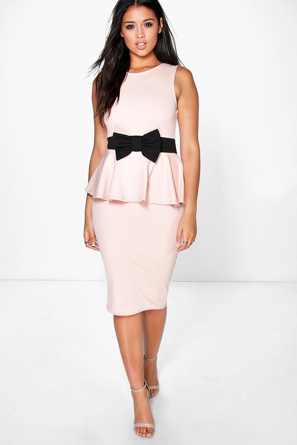 Sarah Bow Waist Peplum Dress