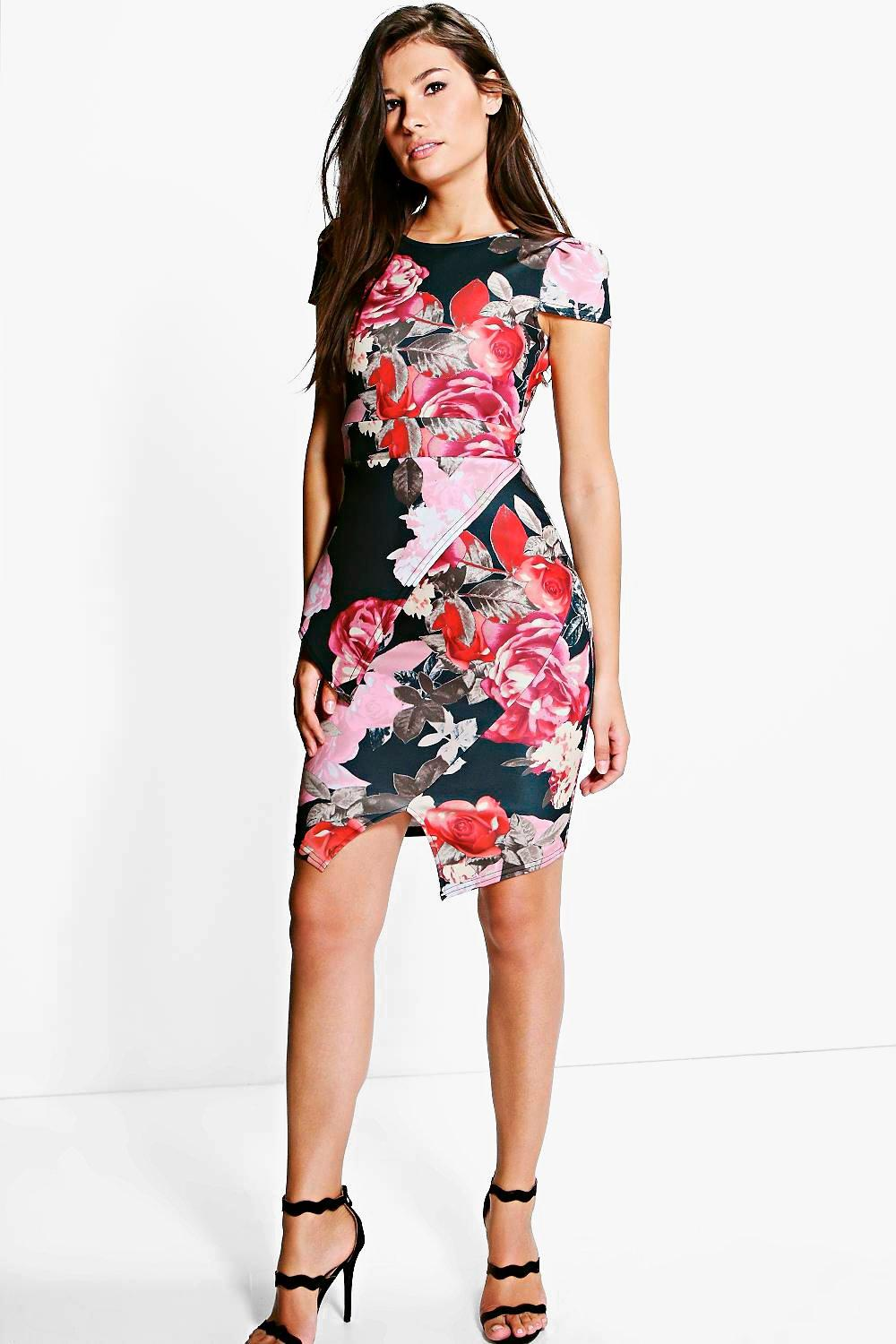 Jess Floral Print Cap Sleeve Peplum Midi Dress