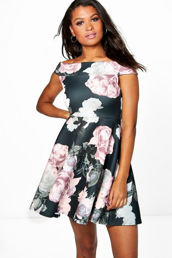 Freyja Floral Print Off The Shoulder Skater Dress
