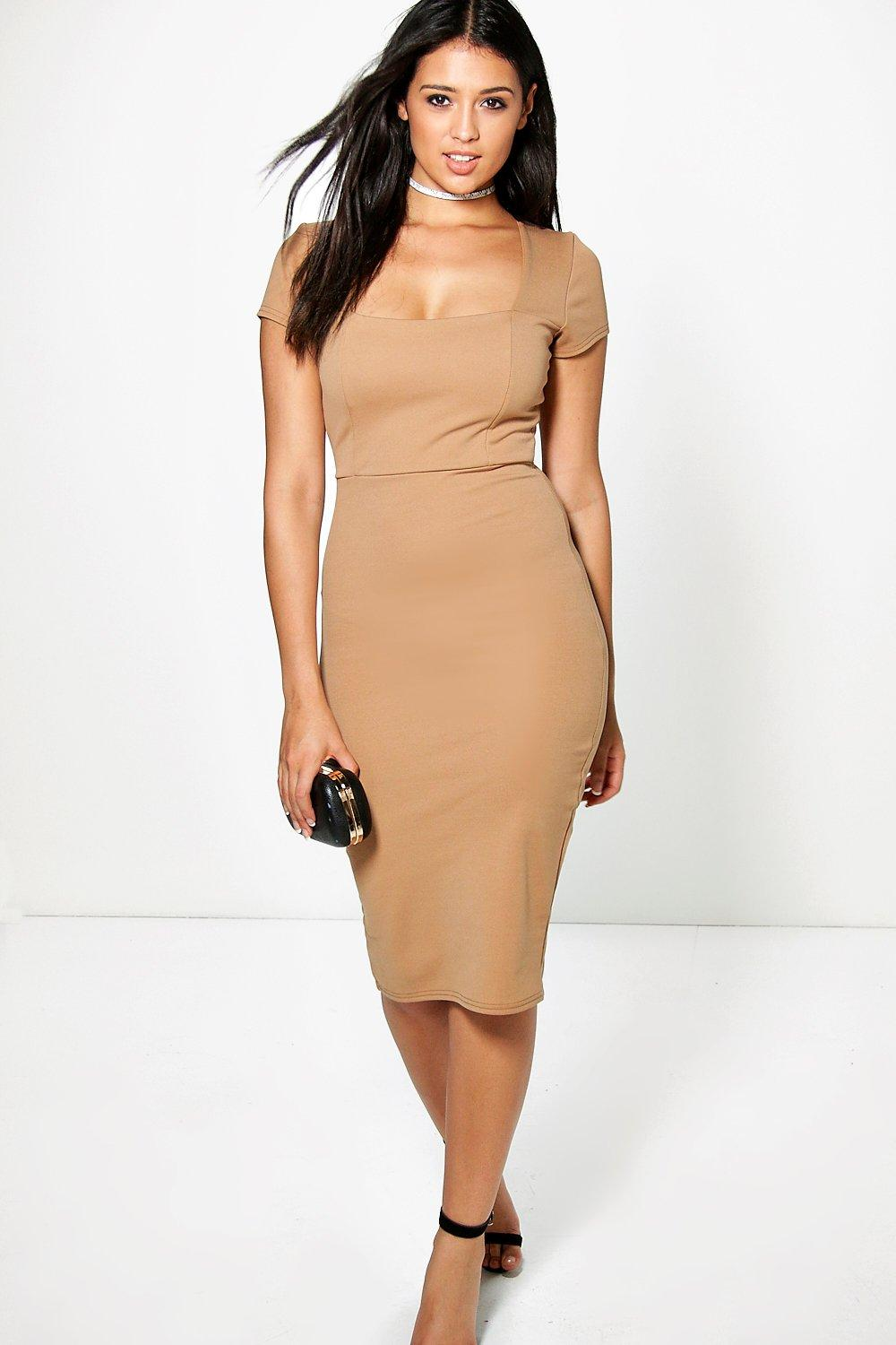 Sophie Square Neck Midi Bodycon Dress