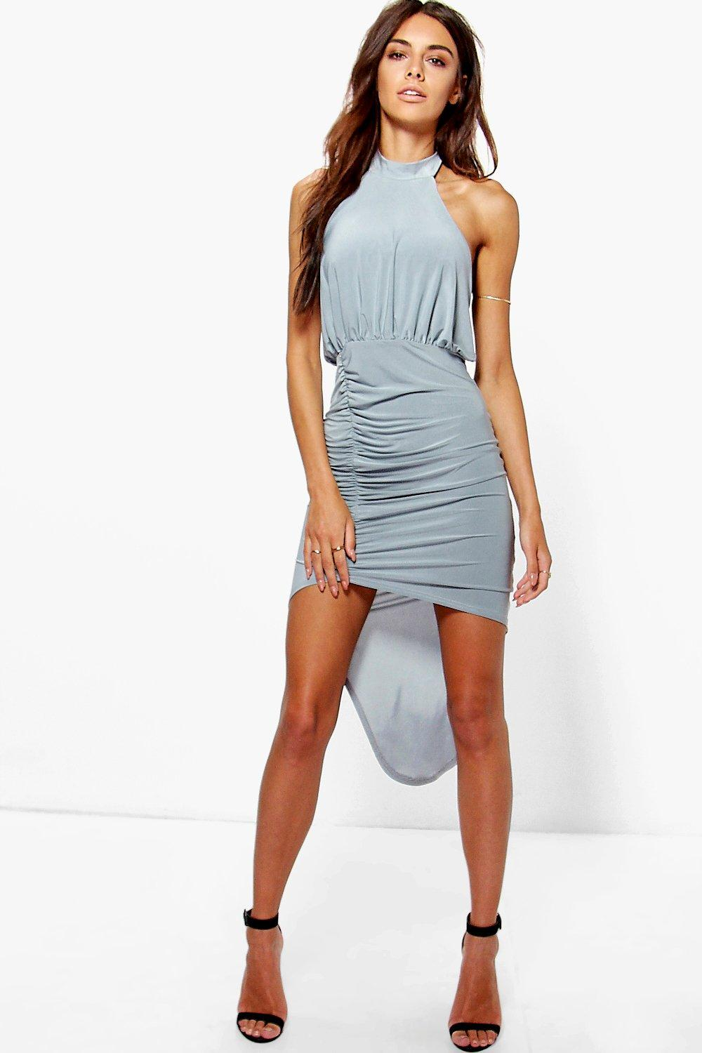 Hallie High Neck Rouched Slinky Bodycon Dress