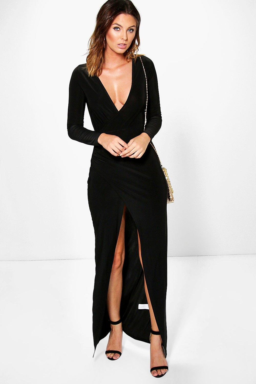 Lara Long Sleeve Wrap Slinky Maxi Dress