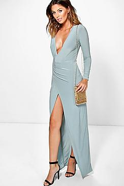 Lara Long Sleeve Wrap Slinky Maxi Dress