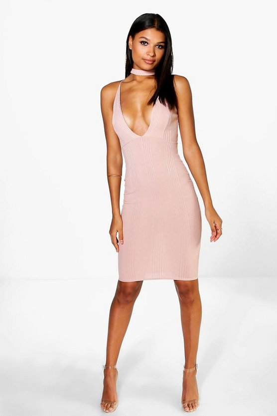 Rosie Ribbed Midi Bodycon Dress