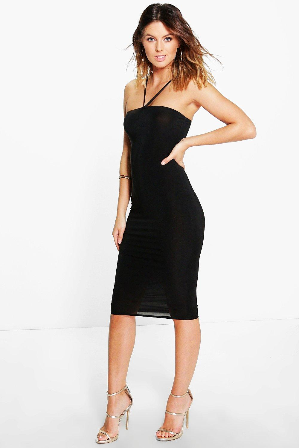 Karina Strappy Slinky Bodycon Midi Dress