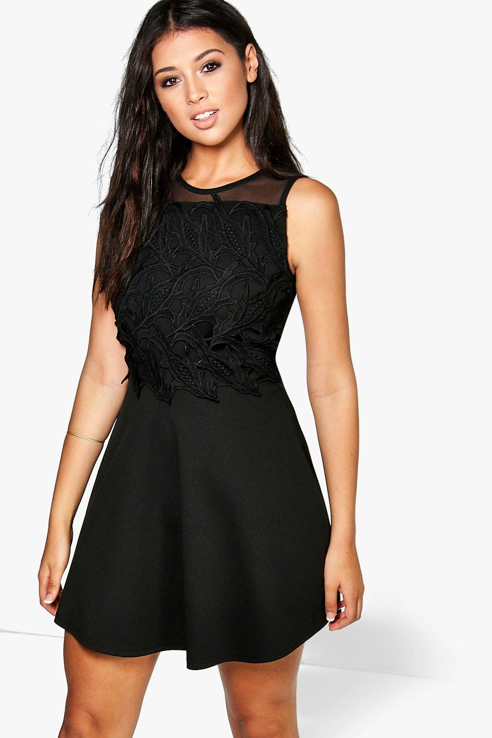 Ceri Crochet Detail Skater Dress