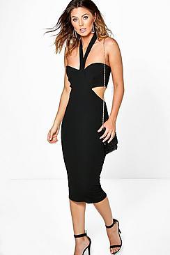 Emma Cut Out Side Halter Midi Dress