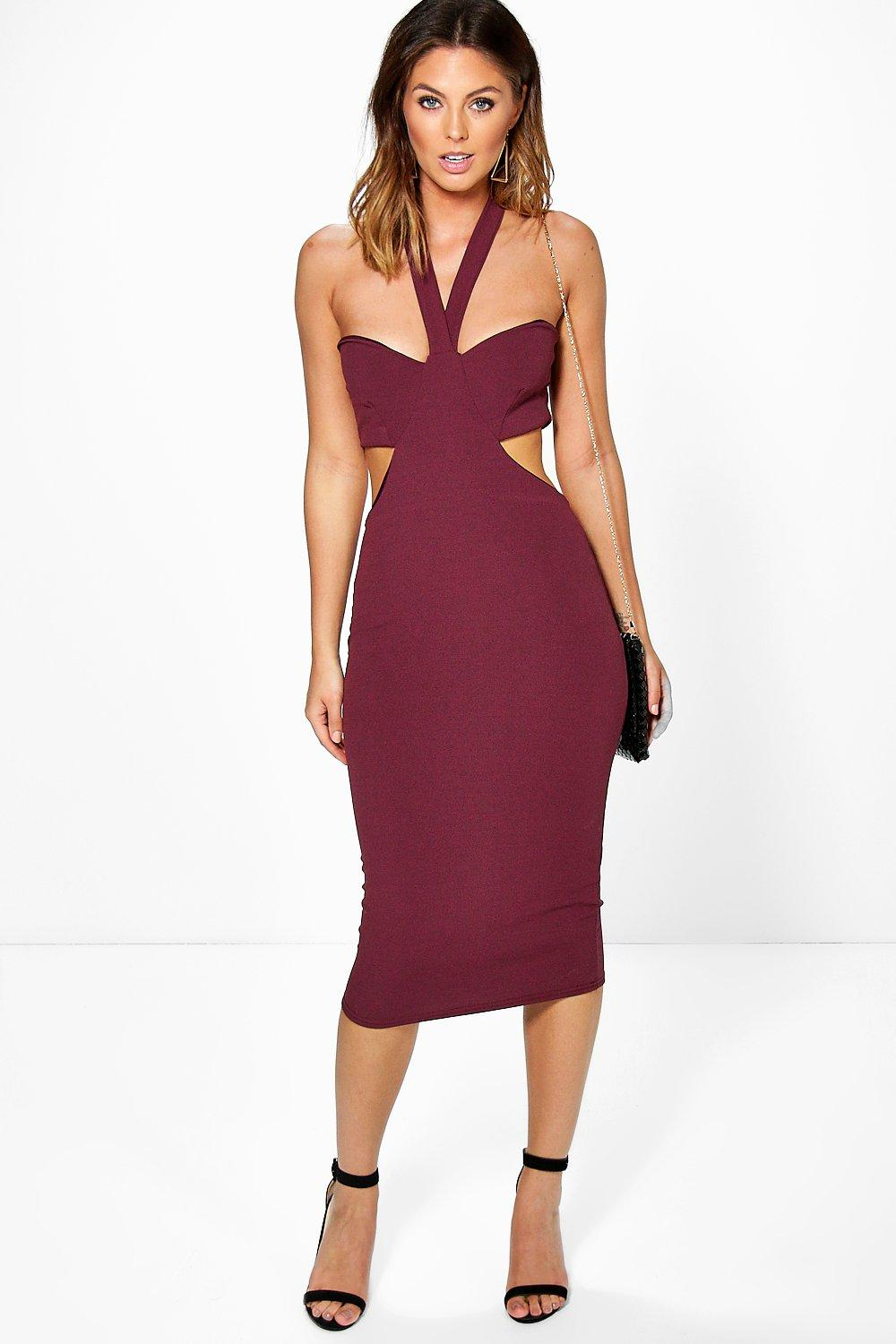 Emma Cut Out Side Halter Midi Dress