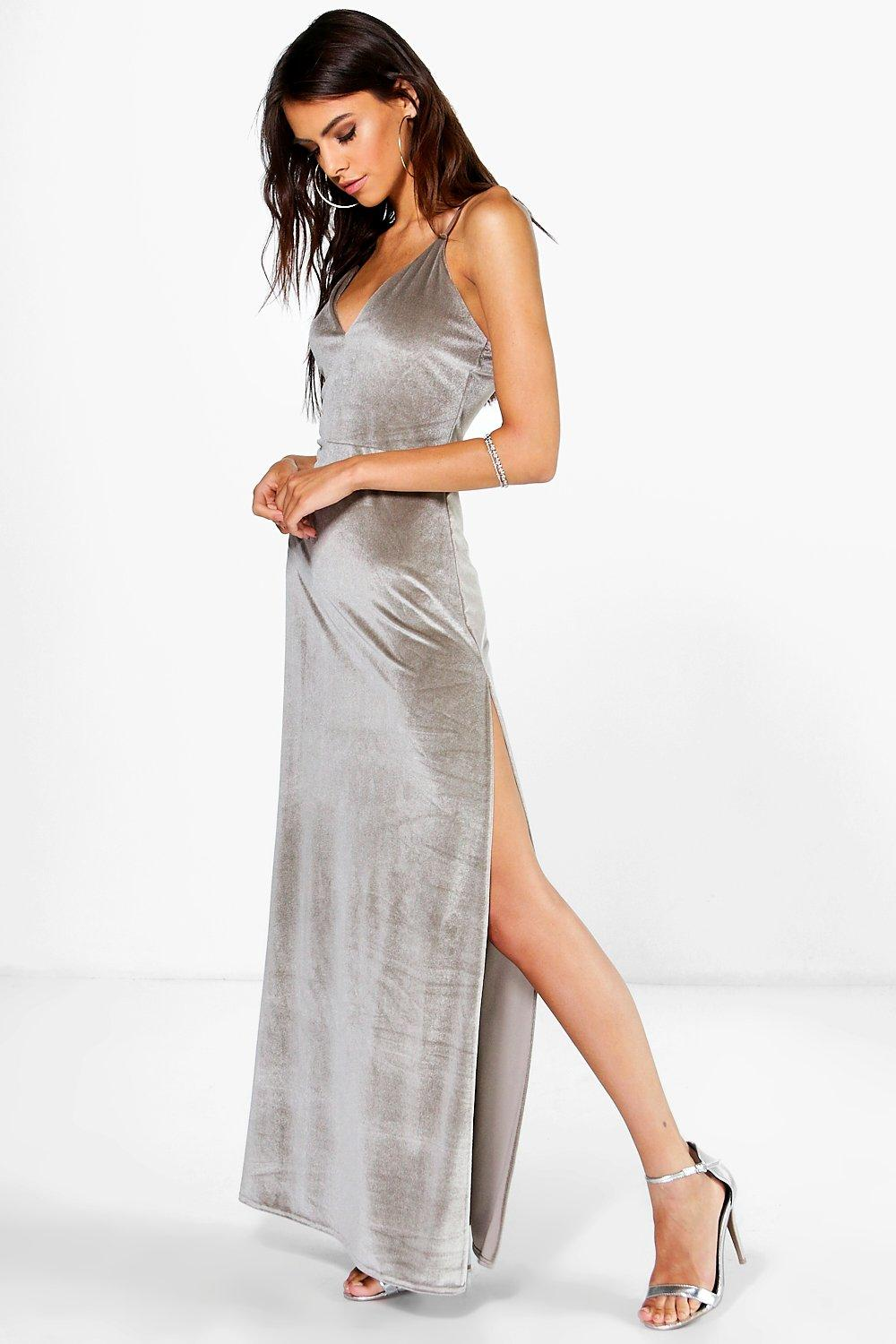Velda Velvet Strappy Thigh Split Maxi Dress