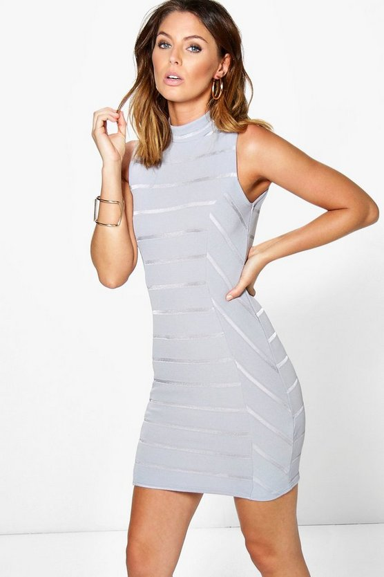 Jasmine High Neck Bandage Bodycon Dress