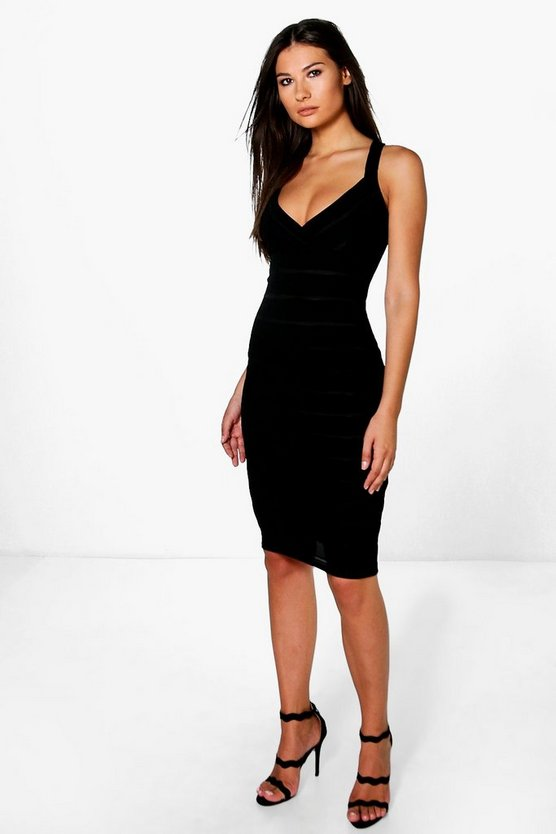 Suzie Strappy Bandage Plunge Midi Dress