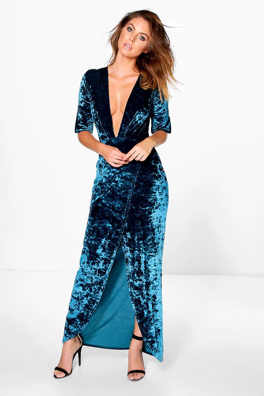 Crinkles Velvet Wrap Midi Dress  blue