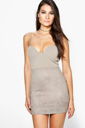 Shelly Suede Panel Front Bodycon Dress