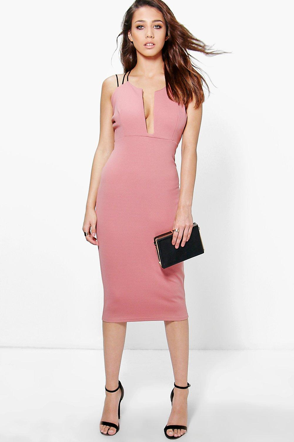 Sophie Strappy Plunge Midi Bodycon Dress