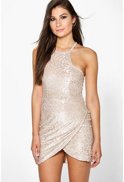 Viola Velvet Lace Wrap Bodycon Dress