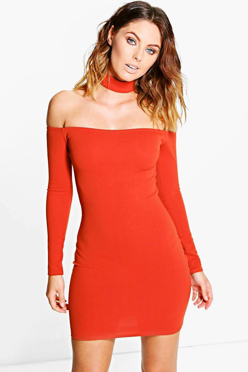 Carley Choker Off Shoulder Bodycon Dress