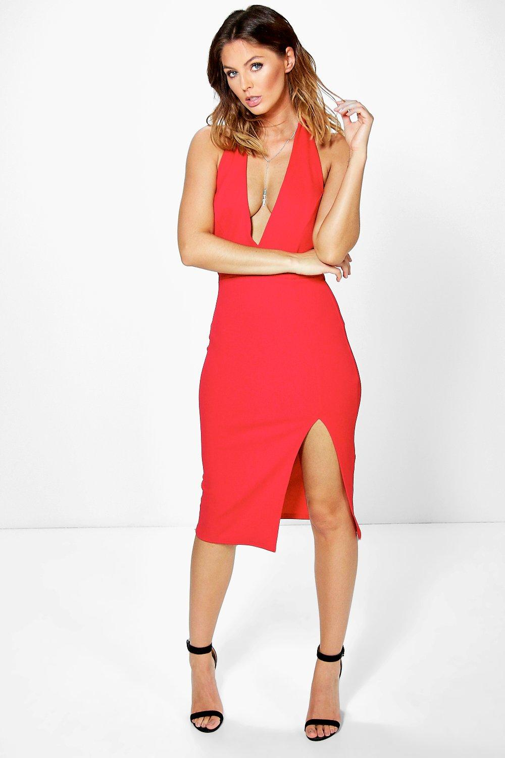 Tally Tie Neck Open Back Midi Dress