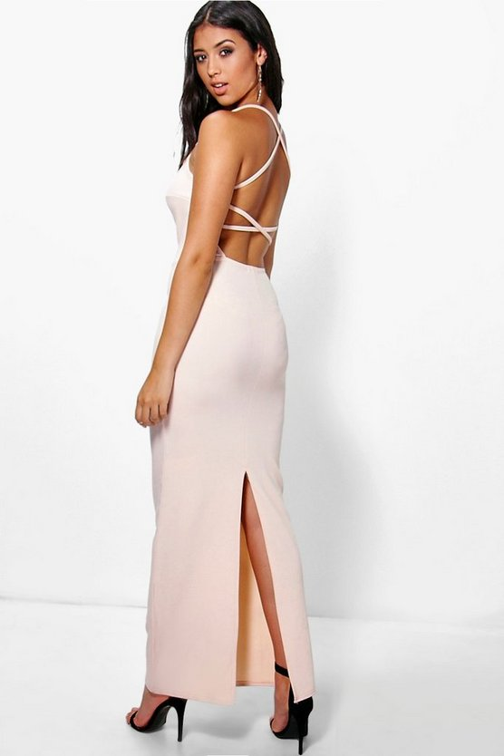 Polly Plunge Neck Open Back Maxi Dress