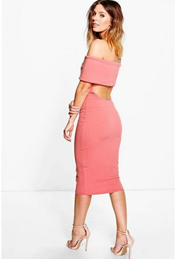 Olivia Oversized Bardot Open Back Midi Dress