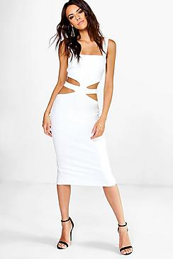 Betty Square Neck Cut Out Middle Bodycon Dress