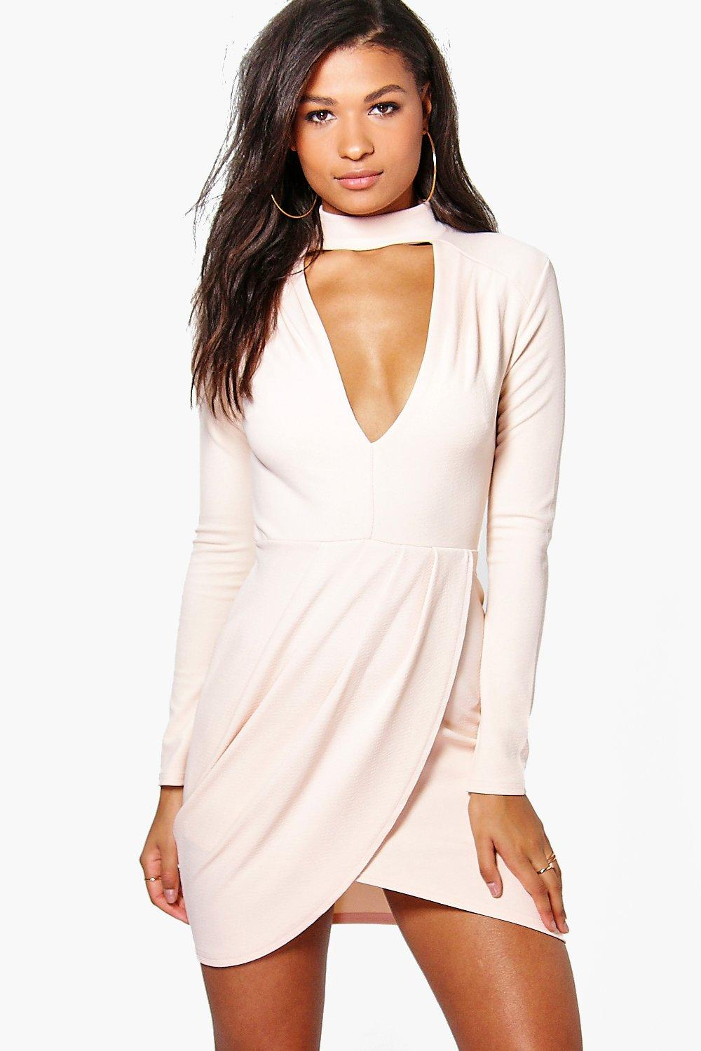 Kelly Plunge neck Wrap Detail Bodycon Dress