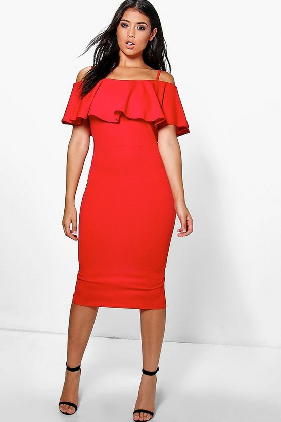 Suzy Strappy Off Shoulder Midi Bodycon Dress