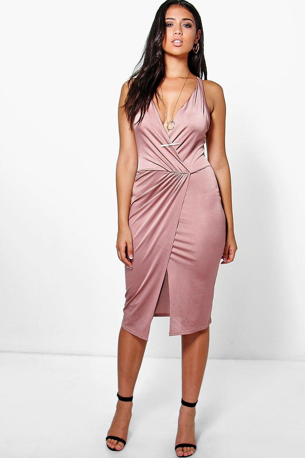 Lacey Slinky Plunge Wrap Detail Midi Dress