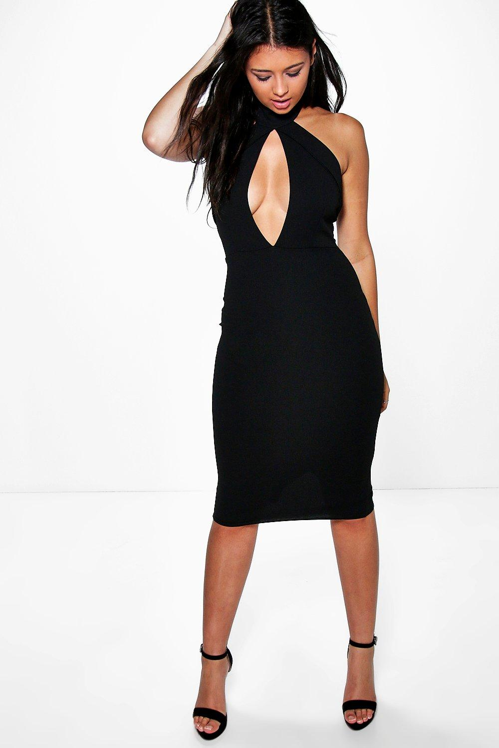 Sadie Fold Over Keyhole Detail Bodycon Dress