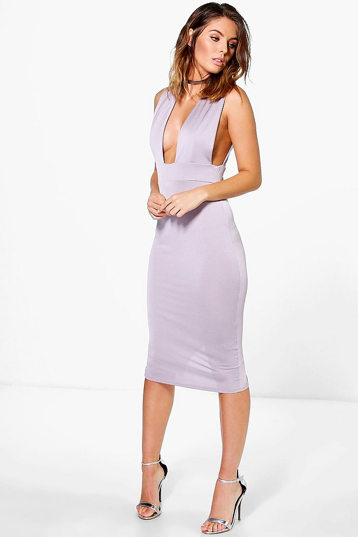 Ronda Plunge Pleat Detail Midi Dress