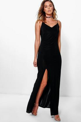 Aria Slinky Strappy Ruched Maxi Dress