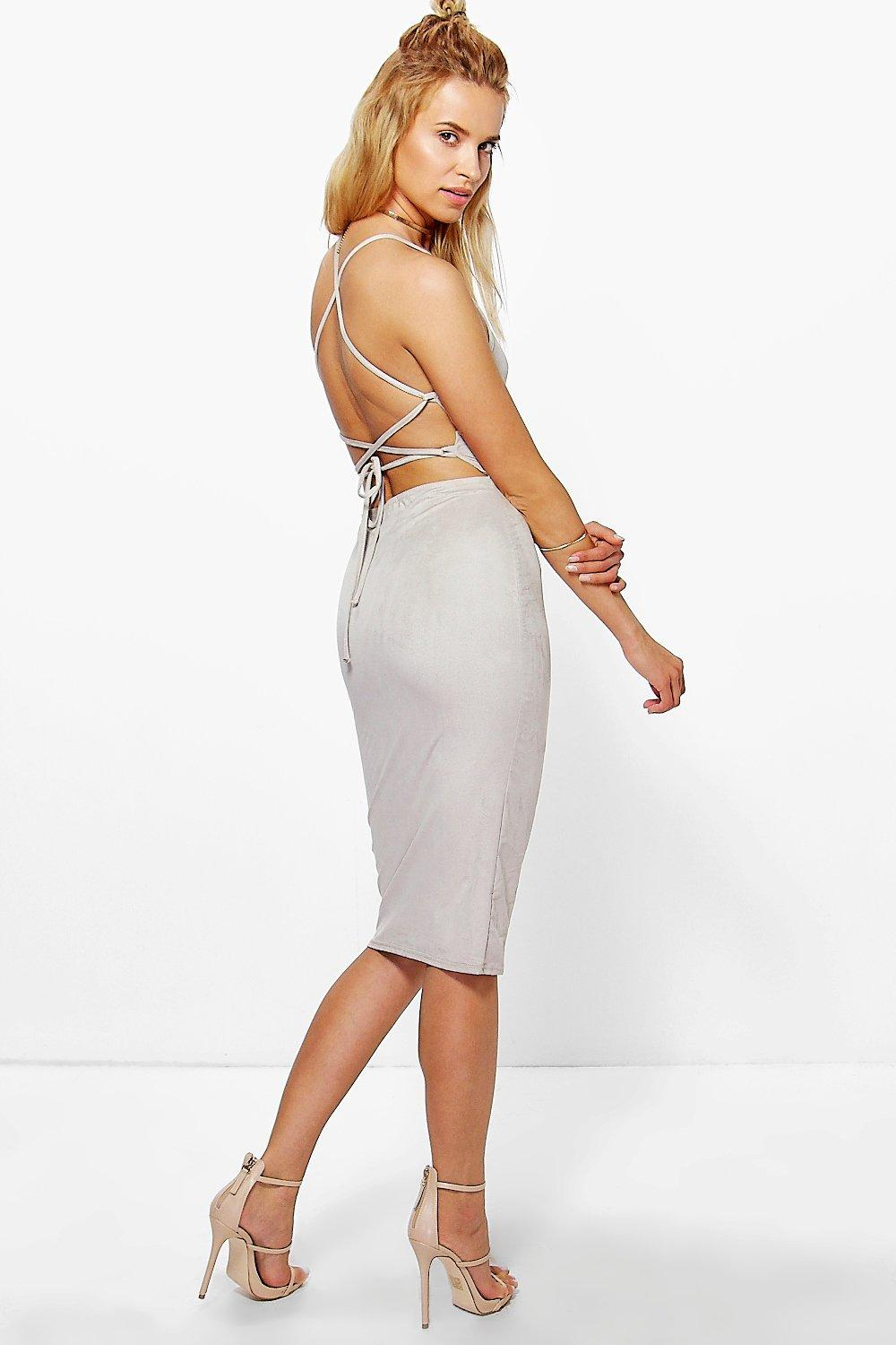 Ri Strappy Back Suedette Midi Bodycon Dress
