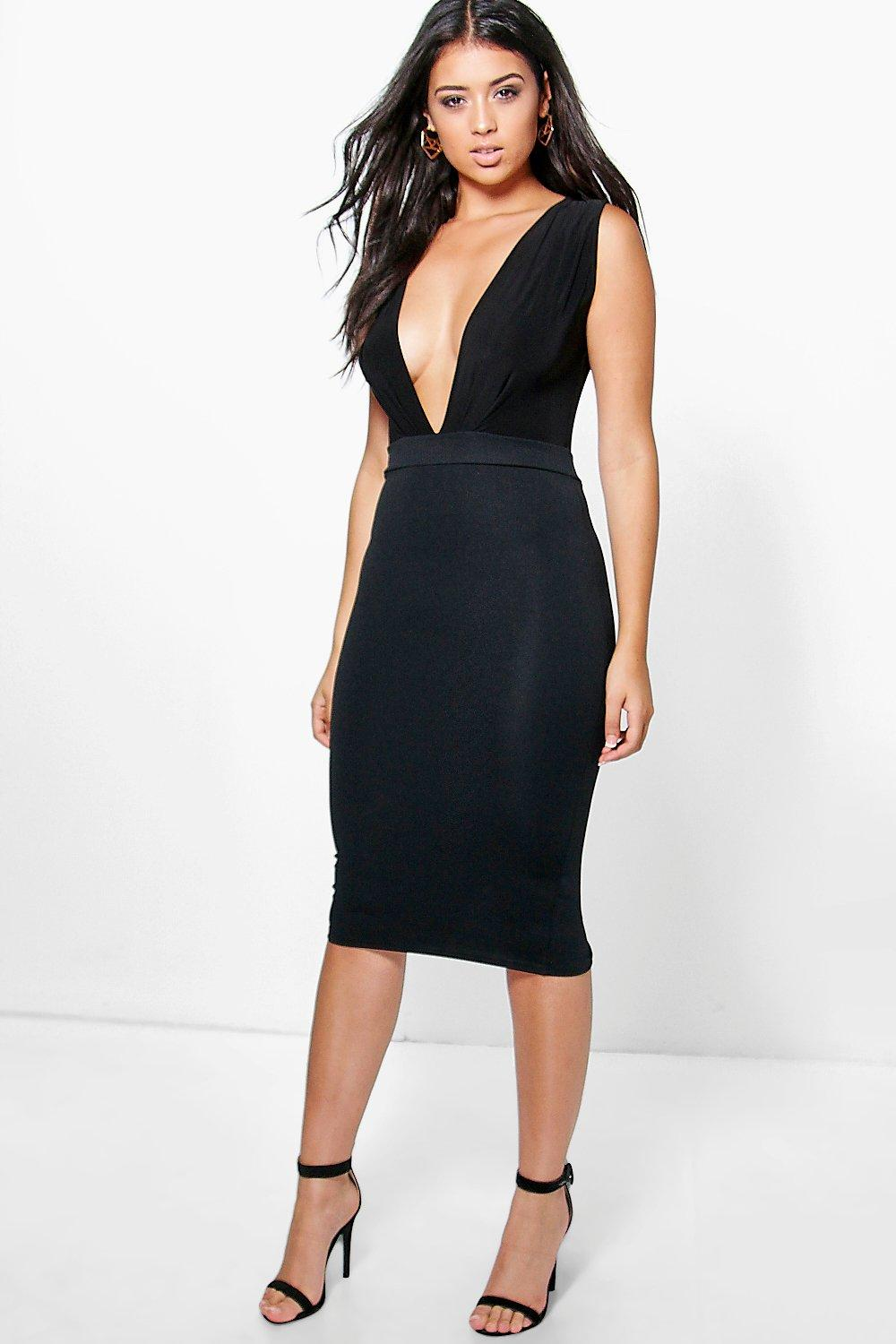 Dori Plunge Neck Slinky Midi Dress