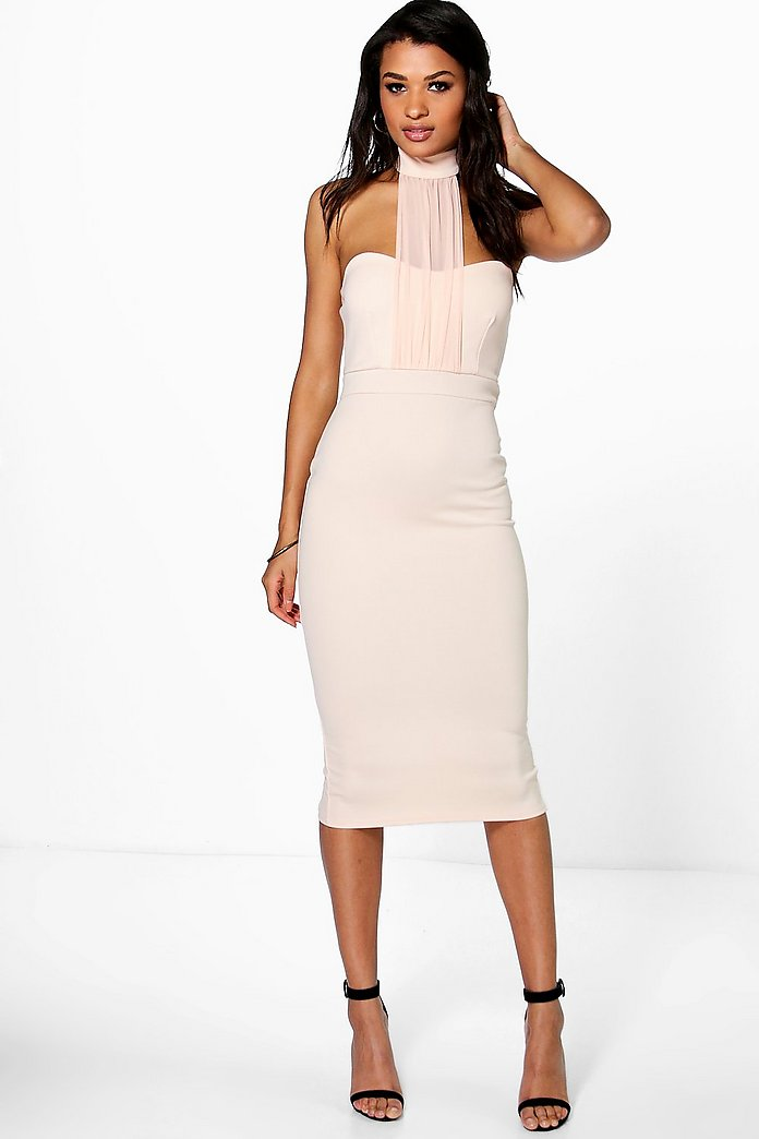 Melanie Mesh Panel Midi Bodycon Dress