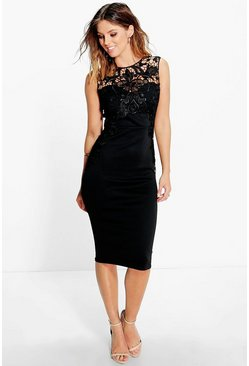 Lydia Lace Front Detail Midi Dress