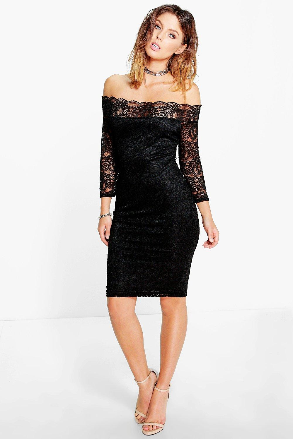 Kelly Lace Bardot Midi Dress