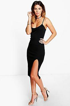 Ida Thigh Split Ribbed Midi Dress