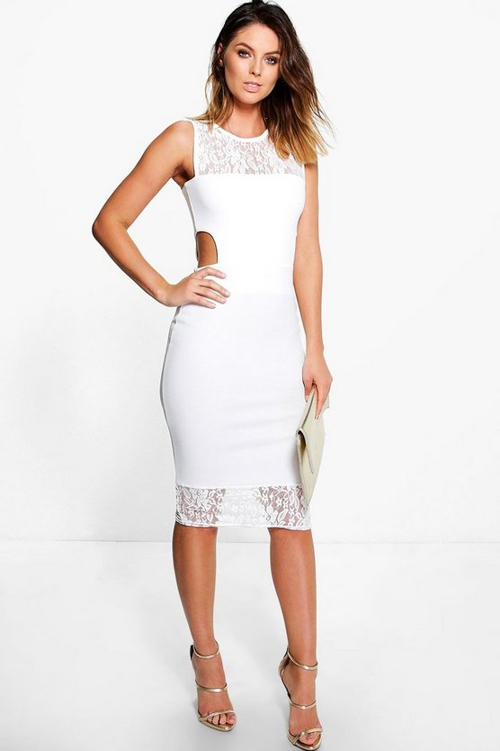 Lace Neck Cut Out Midi Dress