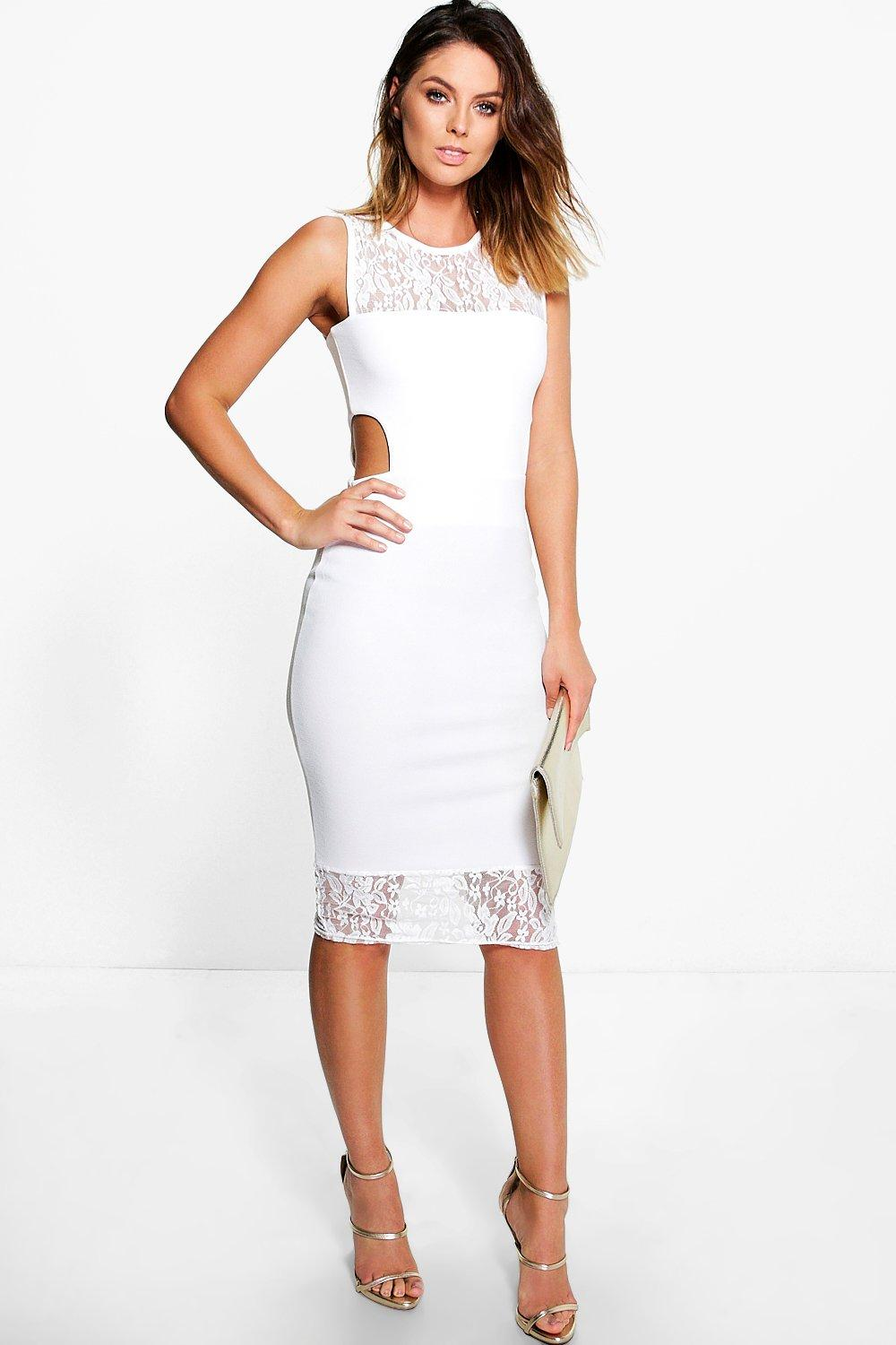 Bree Lace Neck Cut Out Midi Dress