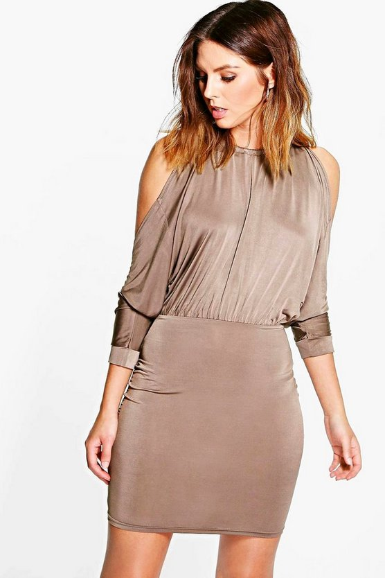 Sally Open Shoulder Slinky Bodycon Dress