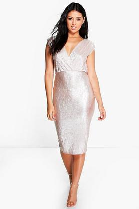 Jade Metallic Wrap Detail Midi Dress