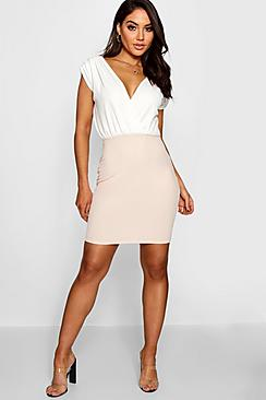 Lara Contrast Colour Wrap Dress