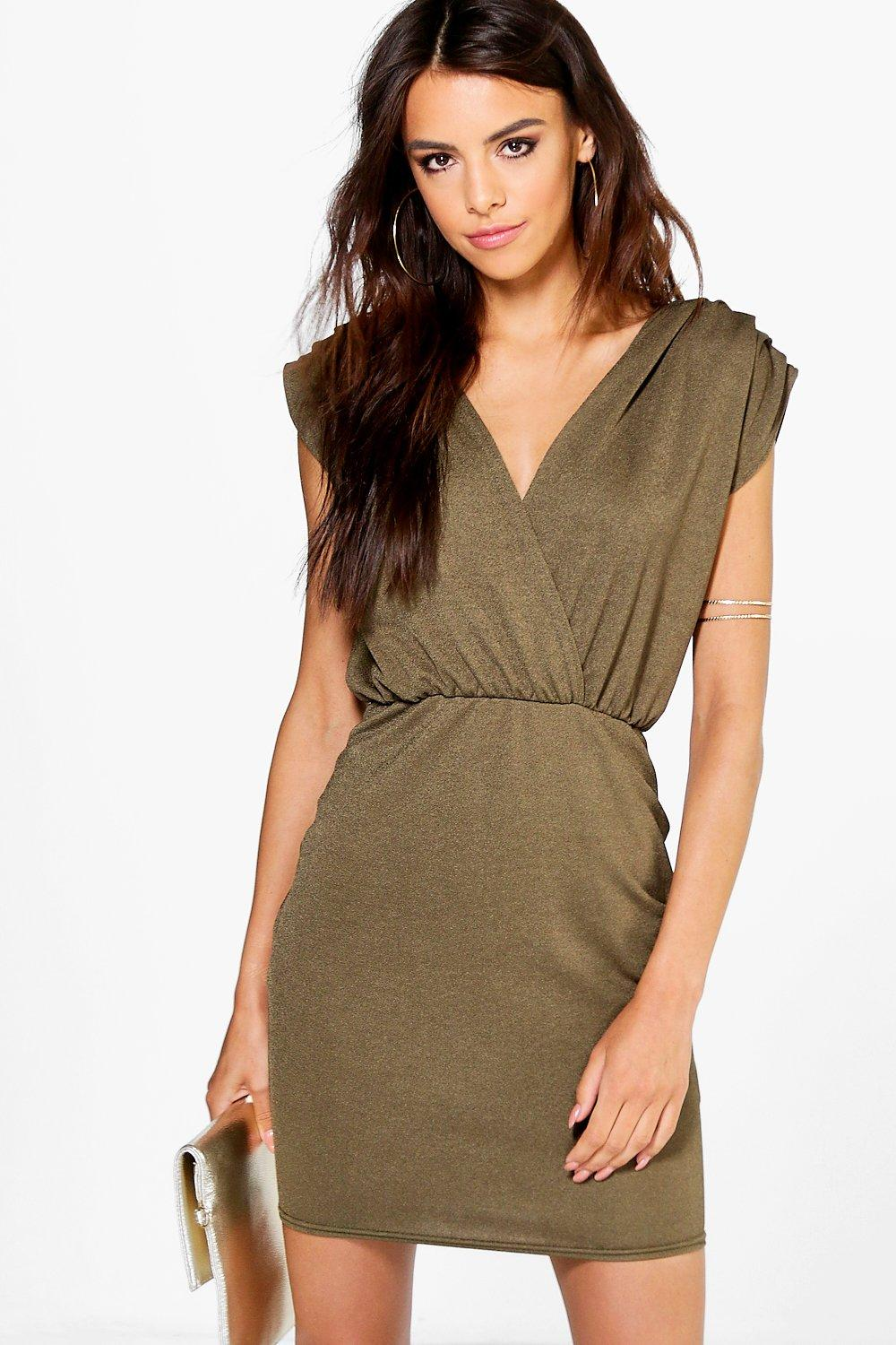 Anne Crepe Wrap Over Bodycon Dress