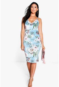 Marissa Floral Velvet Midi Bodycon Dress